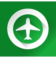 Green circle shiny icon - airplane vector