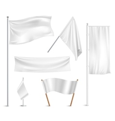 White flags pictograms collection vector