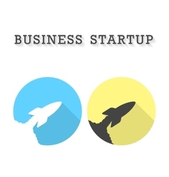 Business startup with two rocket take off icons vector