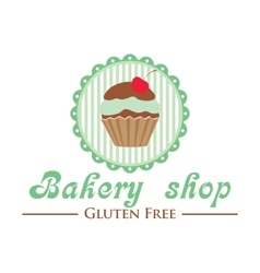 Gluten free bakery shop logo cute cupcake on vector