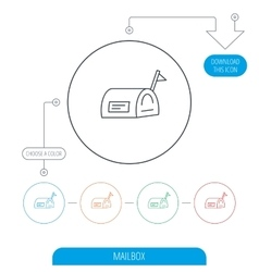Mailbox with flag icon post email box sign vector