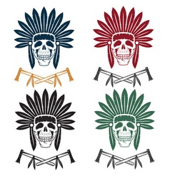 Set of native american chief skull in tribal vector