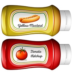 Bottle of mustard and ketchup vector