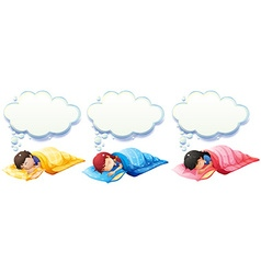 Boy and girl sleeping under the blanket vector