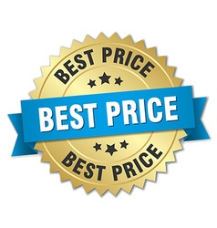 Best price 3d gold badge with blue ribbon vector