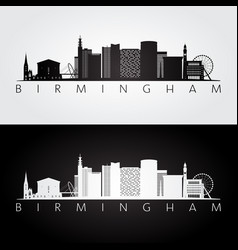 Birmingham skyline and landmarks silhouette vector