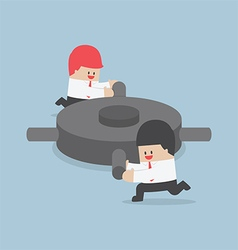 Businessman helping each other to push the gear vector image vector image