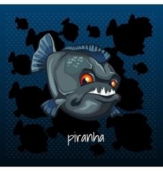 Carnivorous piranha grins on a dark background vector