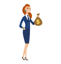 Caucasian stewardess holding a money bag vector