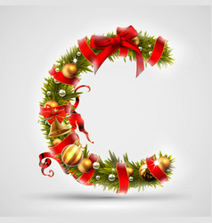 christmas font letter c of christmas tree vector image vector image