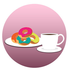 coffee cup with donuts on plate vector image vector image
