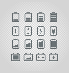 Different accumulator status icons set design vector