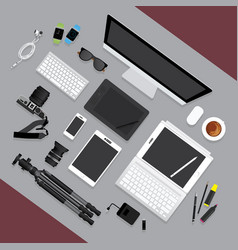 flat design graphic designer workplace concept vector image vector image
