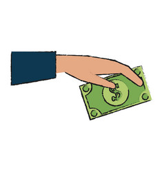 Hand holding dollar bill money icon image vector
