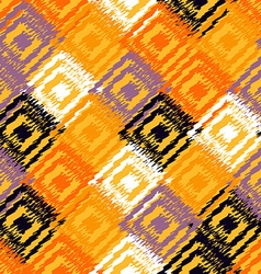 Ikat fabric seamless background vector image