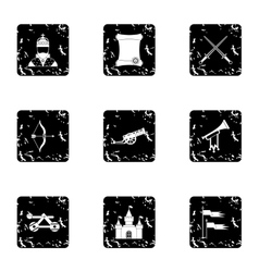 Knight icons set grunge style vector
