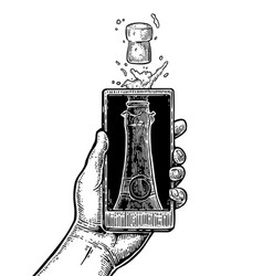 male hand hold smartphone with bottle of champagne vector image vector image
