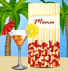 Menu with cocktail vector image vector image