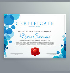 Modern diploma certificate with blue circles vector