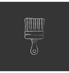 Paintbrush drawn in chalk icon vector