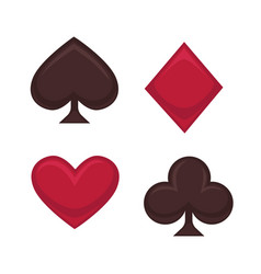 playing card symbols collection in red and brown vector image