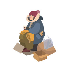 Poor homeless woman dressed in ragged outerwear vector
