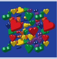 Rainbow colors hearts pattern vector