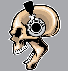 screaming skull wearing headphone vector image