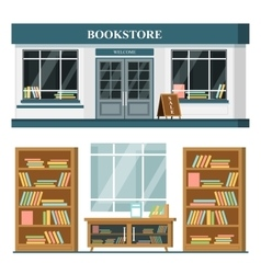 Set of detailed flat design bookstore vector