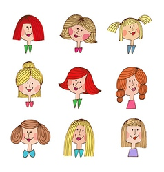Smile girls retro icons vector image vector image
