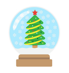 snow globe flat icon new year and christmas vector image