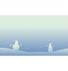 Snowman christmas theme of scenery vector