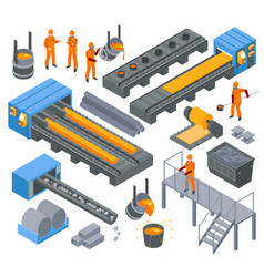 Steel industry isometric set vector