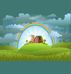 the rainbow protects the small farm vector image vector image