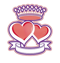 Two loving hearts with imperial crown royal vector