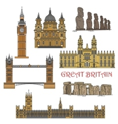 Chilean and british tourist landmark icons vector