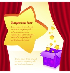 Magic box with stars behind red curtain vector