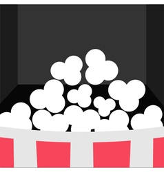 Super big popcorn icon red white strip box movie vector