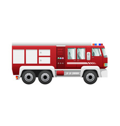 Transport isolated red fire truck on six wheels vector