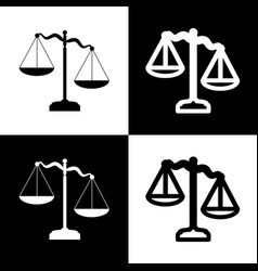 Scales of justice sign  black and white vector