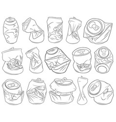 Set of different crushed cans vector