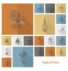 Happy birthday icons set vector