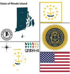 Map of rhode island with seal vector