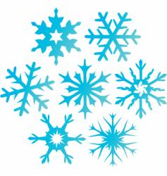 Seven blue snowflakes illustration vector