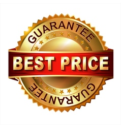 Best price golden label with ribbon vector