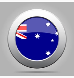 Metal button with flag of australia vector