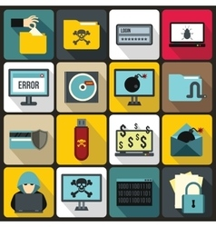 Criminal activity icons set flat style vector