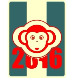 Monkey icon and 2016 new year number vector