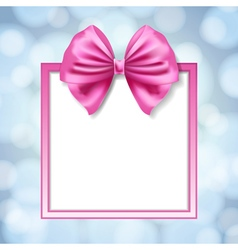 Pink bow and square box frame vector