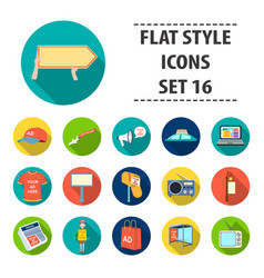 advertising set icons in flat style big vector image